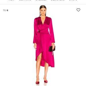 💕Equipment high-low wrap dress